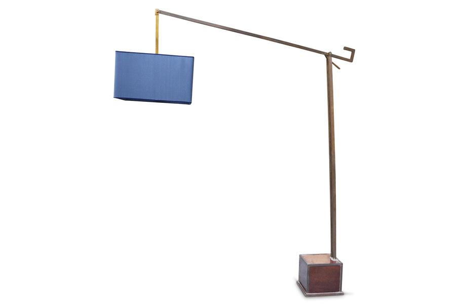 Midcentury modern brass floor lamp silk shade lampada vitnage in ottone