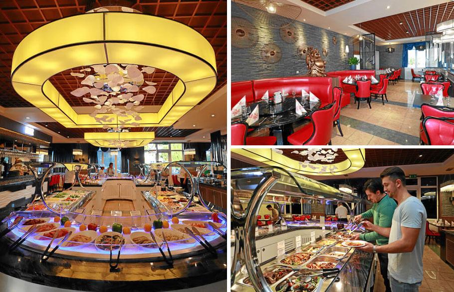 China Restaurant Fudu. Modern eingerichtet und mit einer Rundbeleuchtung direkt über dem Buffet.