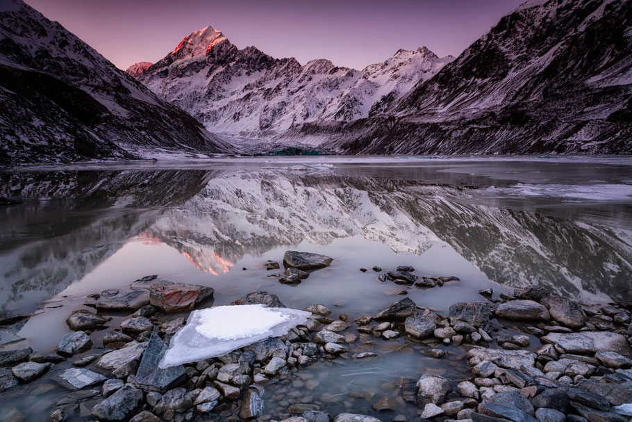 Hooker glacier lake and Mount Cook, New Zealand