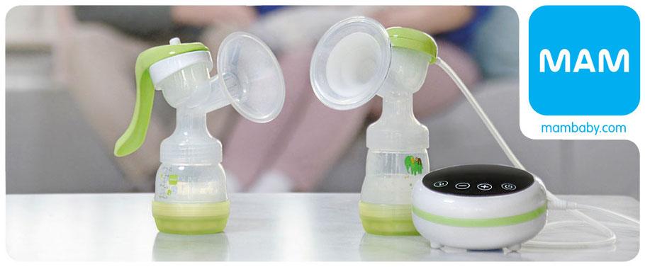 Elektrische Milchpumpen von MAM mit viel praktischem Zubehör und kompatibel zu allen Produkten von MAM.