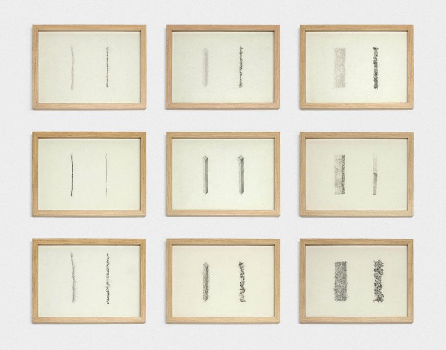 [ Language Memory ] Políptico formado por tres trípticos compuestos por un dibujo mimético, el mismo motivo redibujado y destruido y la reproducción mimética del resultado anterior. Medidas variables. (2020)