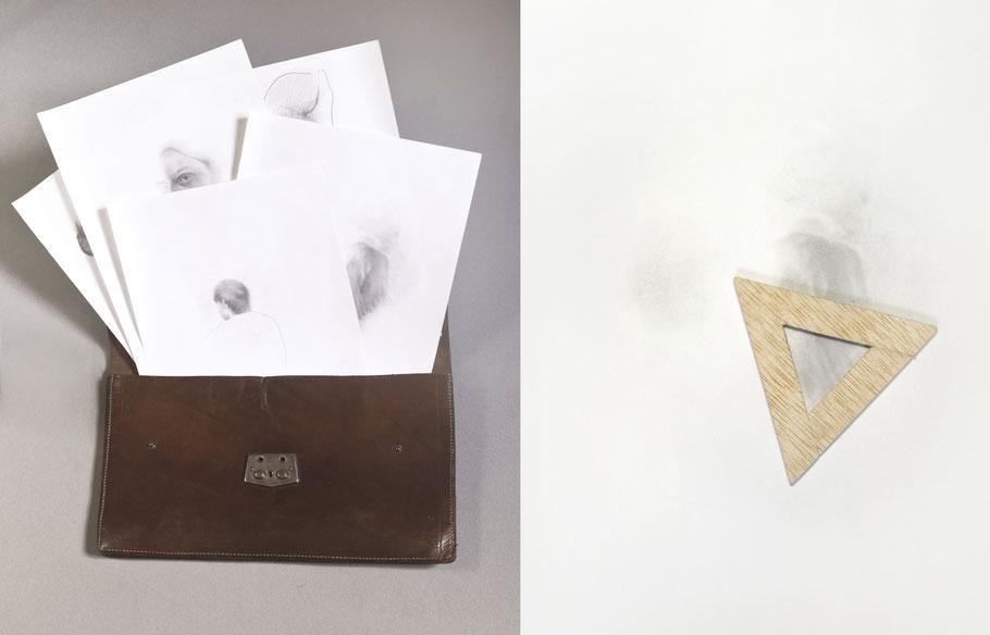 [ Beacons ] Imagen de los dibujos desechados que han servido de referencia (izq.) y de proceso (dcha). Detalle.