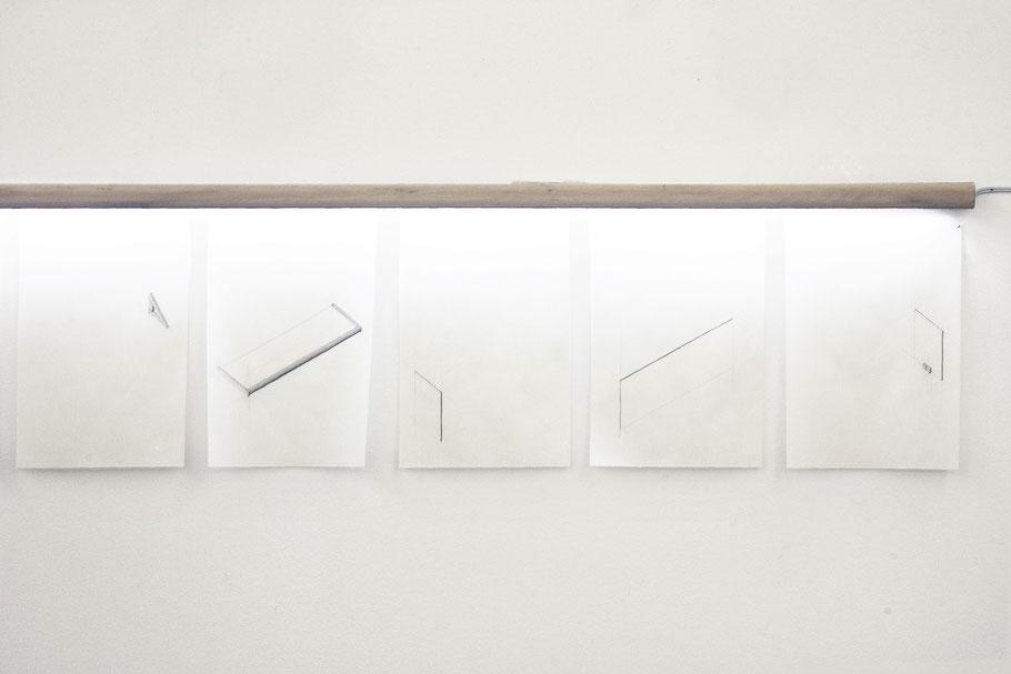 [ Mesa ] Dibujos geométricos que representan esquemáticamente las mesas Manufacturadas para la exposición, realizados a posteriori. 21 x 30 cm. c/u.