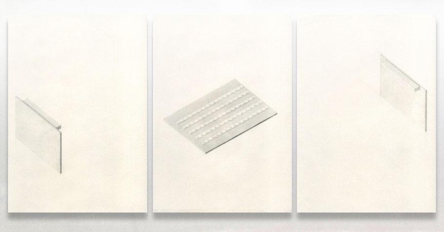 [ Caja de luz ] Grafito sobre papel pergamino. 21 x 30 cm c/u. Detalle.