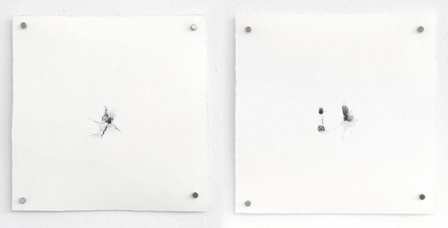[ Marcas catalogadas ] Dibujos de marcas en la pared producidas en exposiciones anteriores. Grafito sobre papel. (13 x 13 cm. 2020)