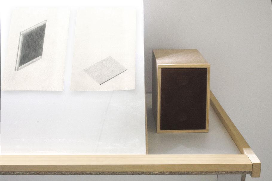 [ Altavoz ] Detalle del altavoz que reproducía los sonidos grabados durante los dibujos que lo representan realizados a posteriori.