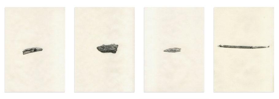 [ Time ] & [ Tech ] Lápiz carboncillo sobre papel pergamino. 21 x 30 cm c/u. Detalle.