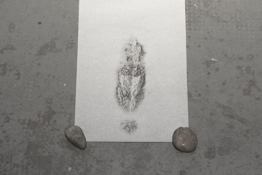 [ 1995 ] Grafito sobre papel pergamino. Detalle.