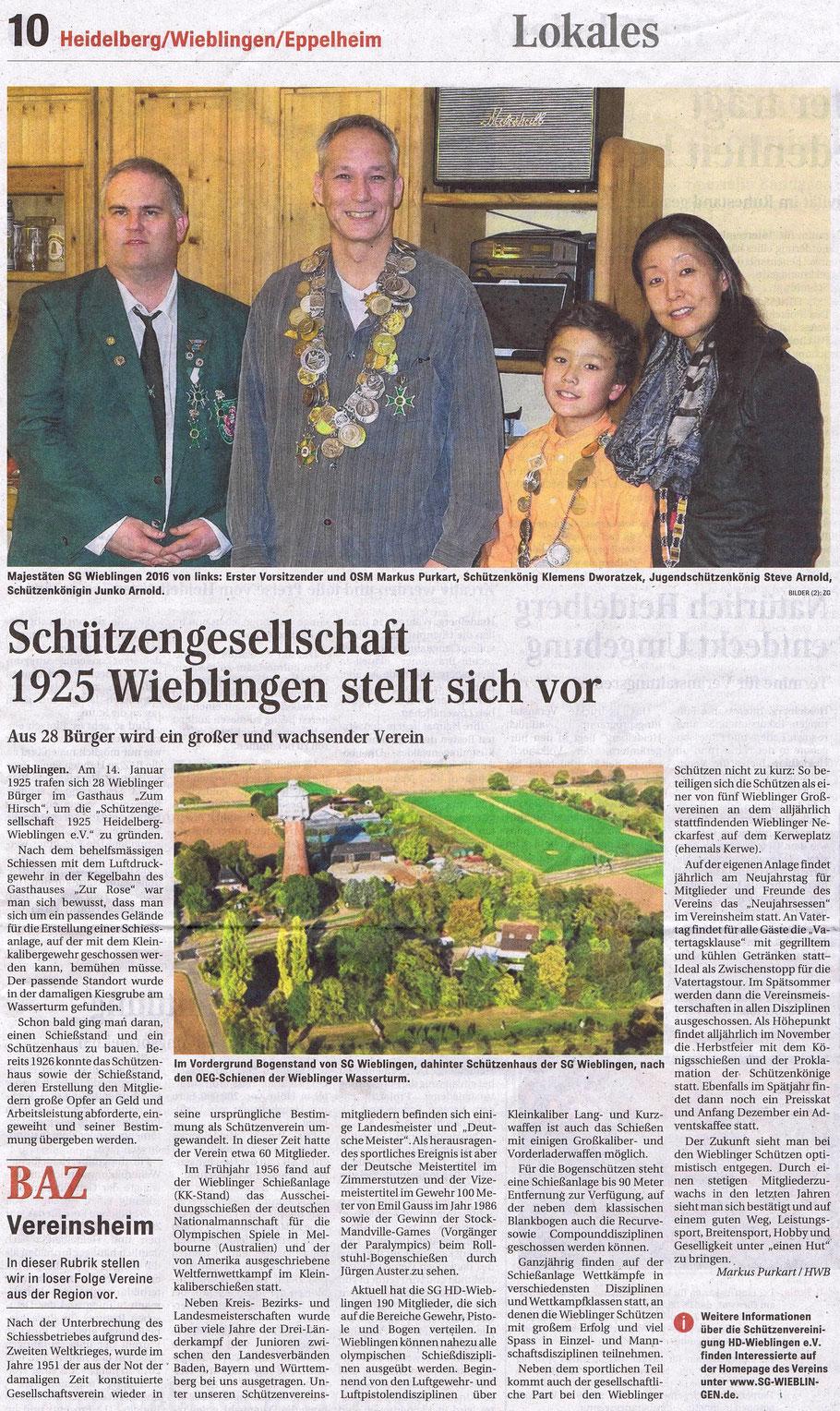 Bericht in der Badischen Anzeigen Zeitung vom 20. August 2016 über die SG Heidelberg-Wieblingen e.V.