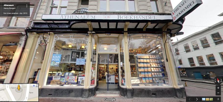 Der wunderschöne Laden von Athenaeum am Spui-Platz in der Amsterdamer Altstadt. (Foto von Google Street View)