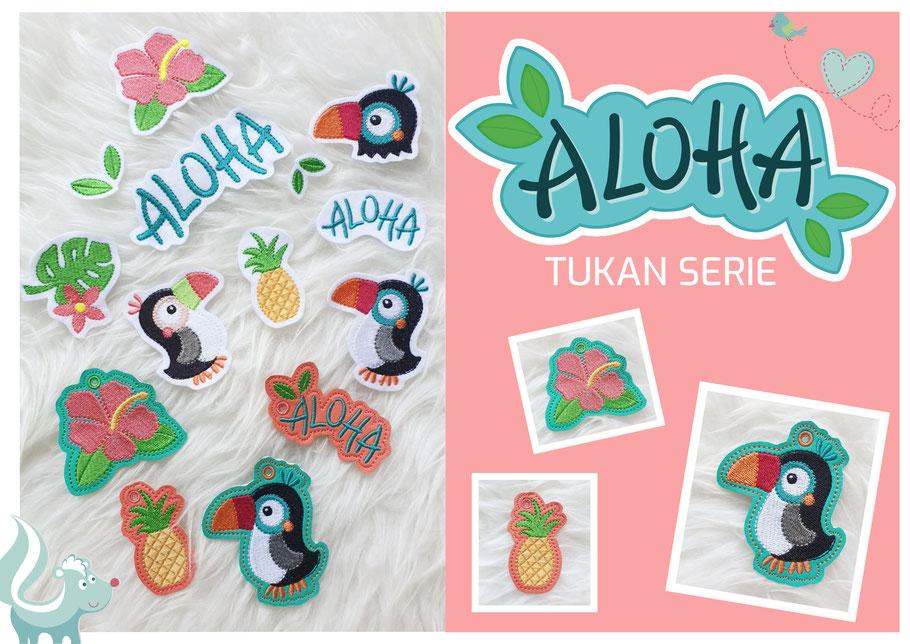 Tukan Aloha Serie, großes Sommer Stickdateien Set