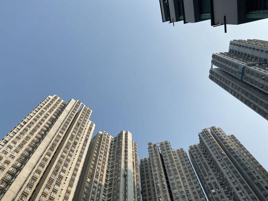 Blick nach oben: Hong Konger Hochhäuser