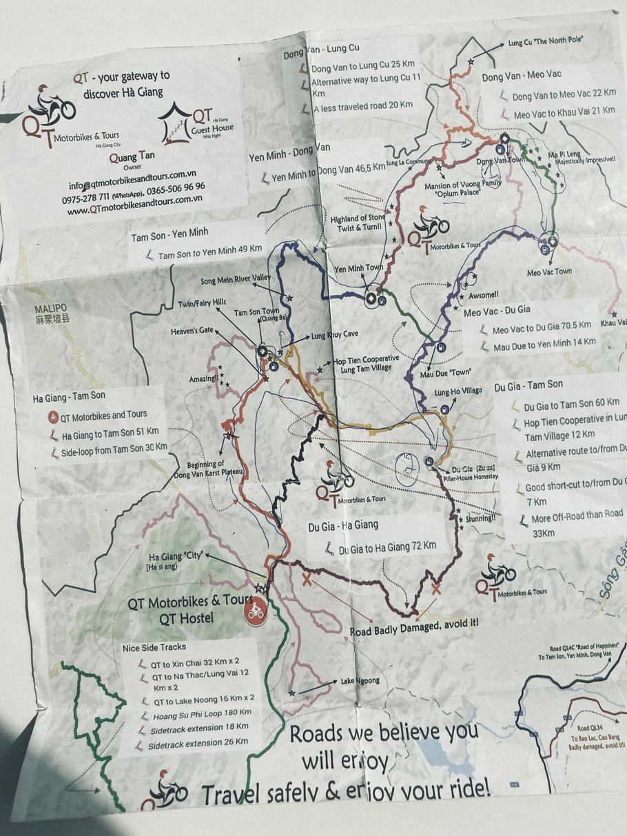 Übersicht aller Routen des Ha Giang Loops