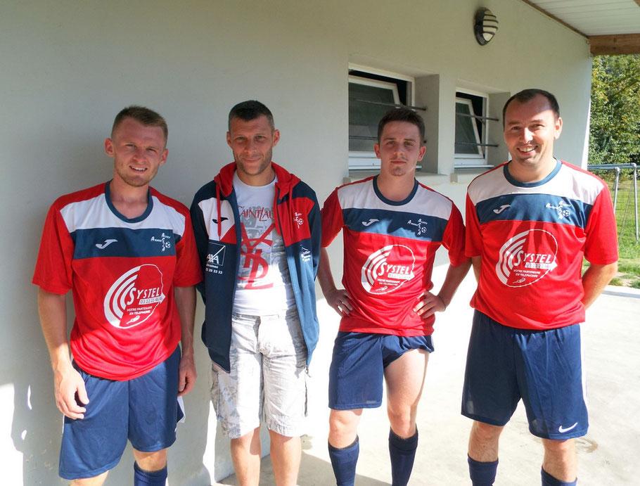 De gauche à droite : Baptiste Blairet, Geoffrey Carlier (n'a pas joué ce jour), Honoré Caron, Romain Delamarre