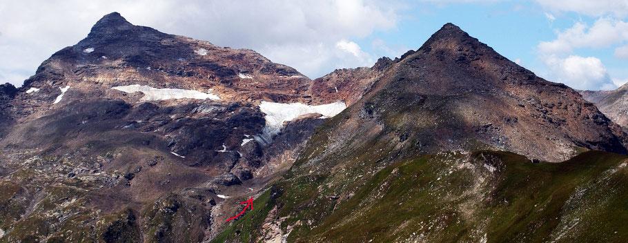 Blick auf den Chilchalpgletscher bei Hinterrhein.