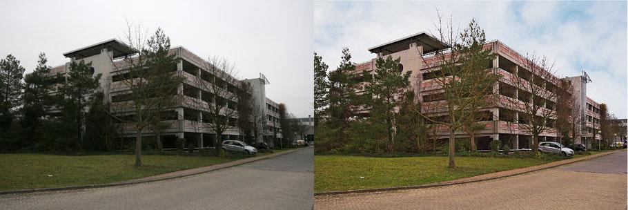 Immobilienfoto: Gegenüberstellung  von zwei Versionen einer Außenaufnahme (Parkhaus)