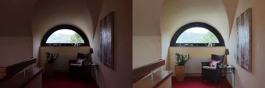 Immobilienfoto: Szene links zu dunkel, rechts Innenbereich etwas heller