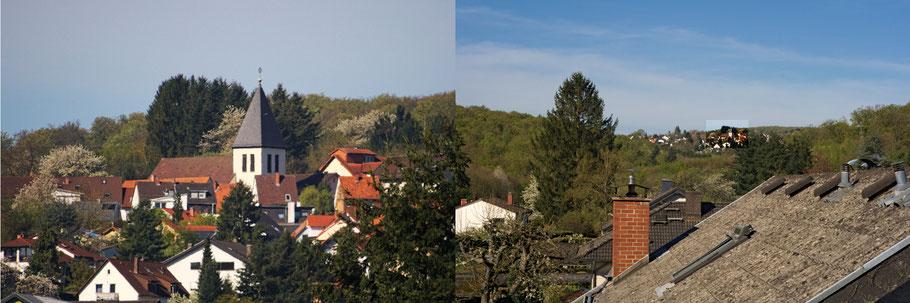 """Immobilienfoto: Gegenüberstellung eines """"Ausblicks"""" einmal mit dem Teleobjektiv und einmal mit einem leichten Weitwinkel aufgenommen."""