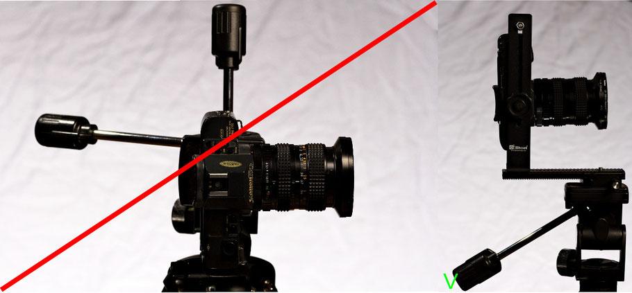 Das Stativgewinde ist nicht die geeignete Kamerabefestigung bei Panoramaaufnahmen