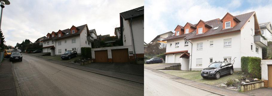 Immobilienfoto: Gegenüberstellung  von zwei Versionen einer Außenaufnahme (Mehrfamilienhaus)