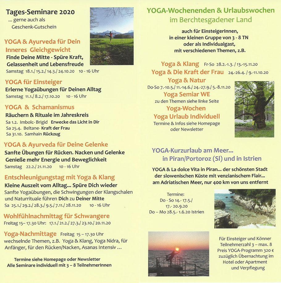 Termine Yogahaus Berchtesgaden 2019 Flyer Innenseiten