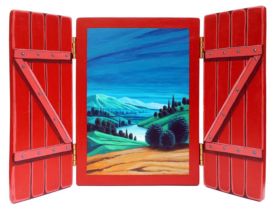 Paysage, triptyque, acrylique sur bois, dim. fermé 23x18 cm / Kinder-k 2018