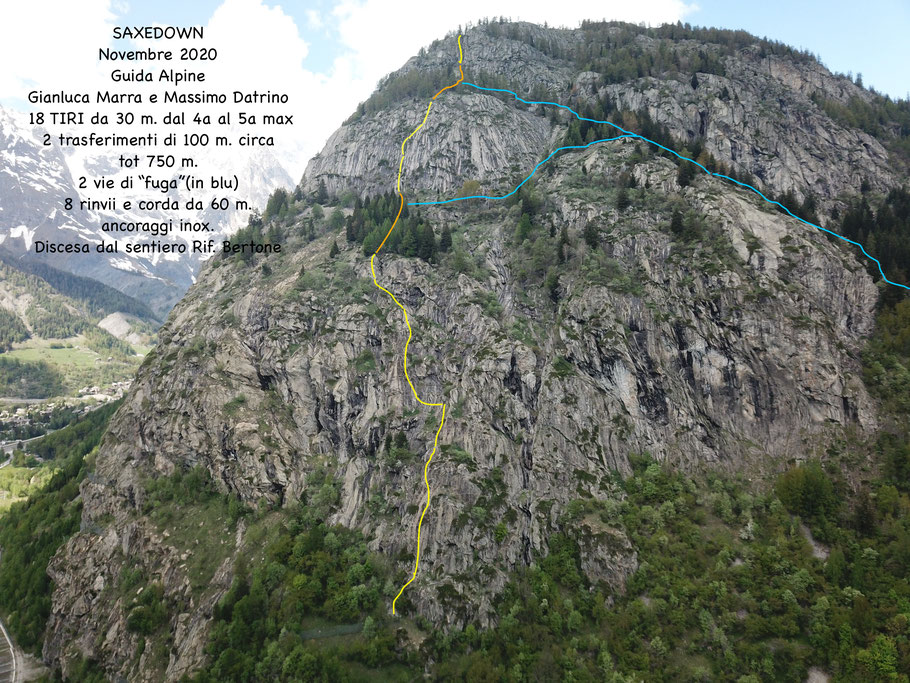 via lunga di arrampicata situata al Mont de la Saxe, con partenza dall'acquedotto e discesa sul sentiero del rifugio bertone, oppure le vie di fuga in blu.