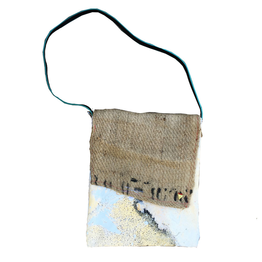 Eisley bag - front | made out of burlap, canvas, and fabric | SOLD