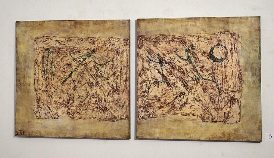 """""""Cavemen"""" (2016), Diptychon 2 x à 90x90 cm; Acrylic, Chalk, chinapaper, Oil"""