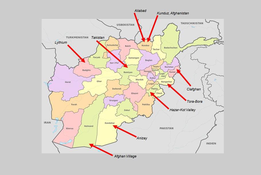 Karte Afghanistan Provinzen.Operationsgebiete 1st Spartan Company