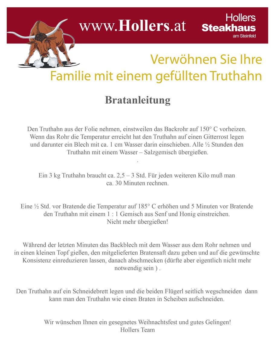 Weihnachtstruthahn Bestellung - Hollers | Die 1te Adresse in Wiener ...