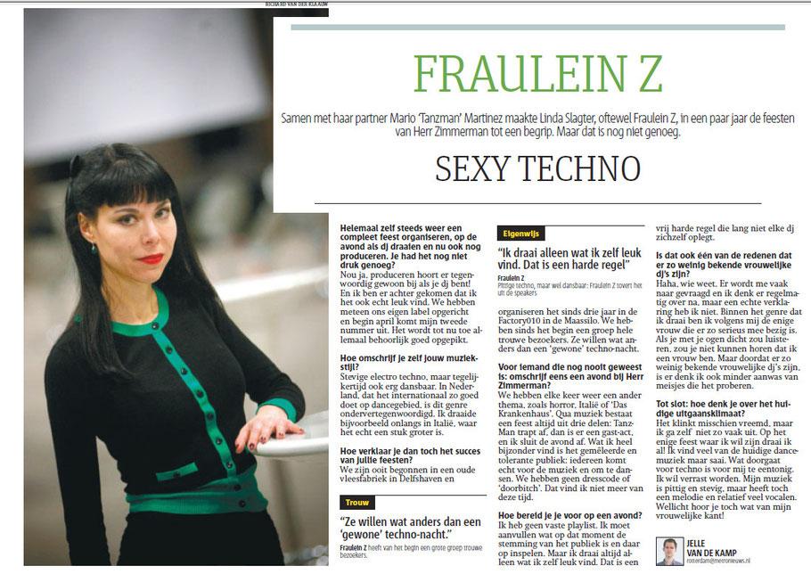 Interview Fraulein Z met Metro Rotterdam