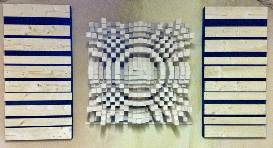 Diffuseur et panneaux absorbants réalisés par B. Mallaroni pour le groupe DELUXE