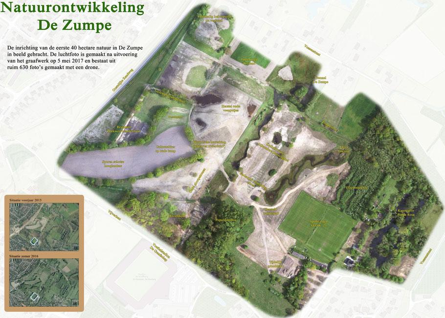 Drone-opname van het Deelgebied 1, na uitvoeding van de werkzaamheden.