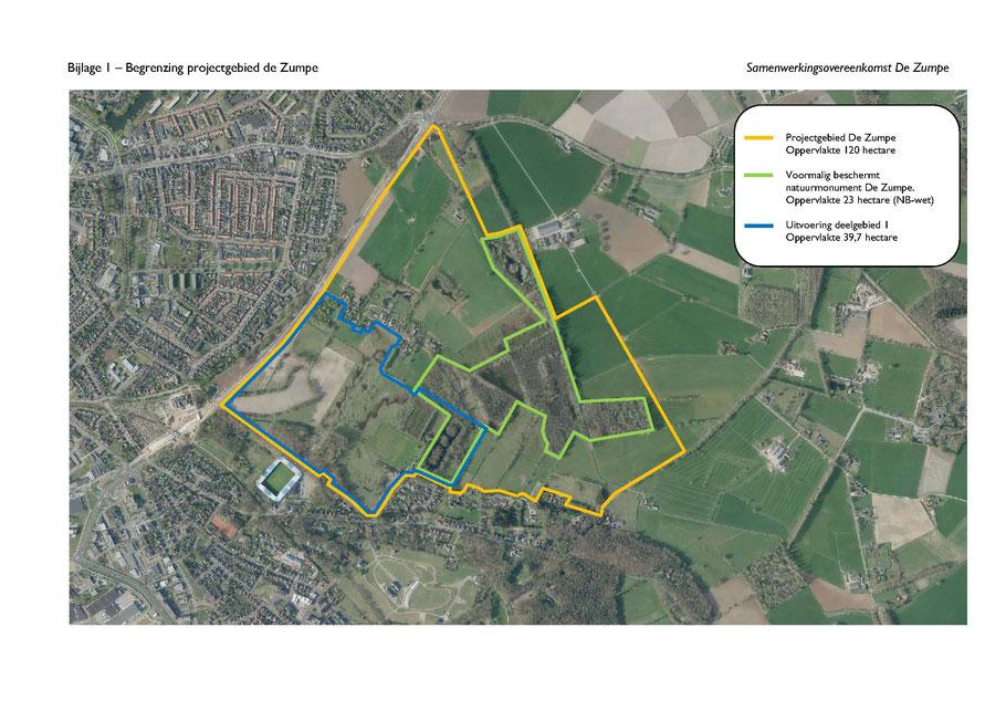 Het projectgebied de Zumpe in totaal 120 ha, waarvan intussen ca. 40 ha zijn gerealiseerd. Gemeente Doetinchem heeft deze terreindelen van de voedselrijke toplaag ontdaan en enige 'vennen' laten ontstaan.