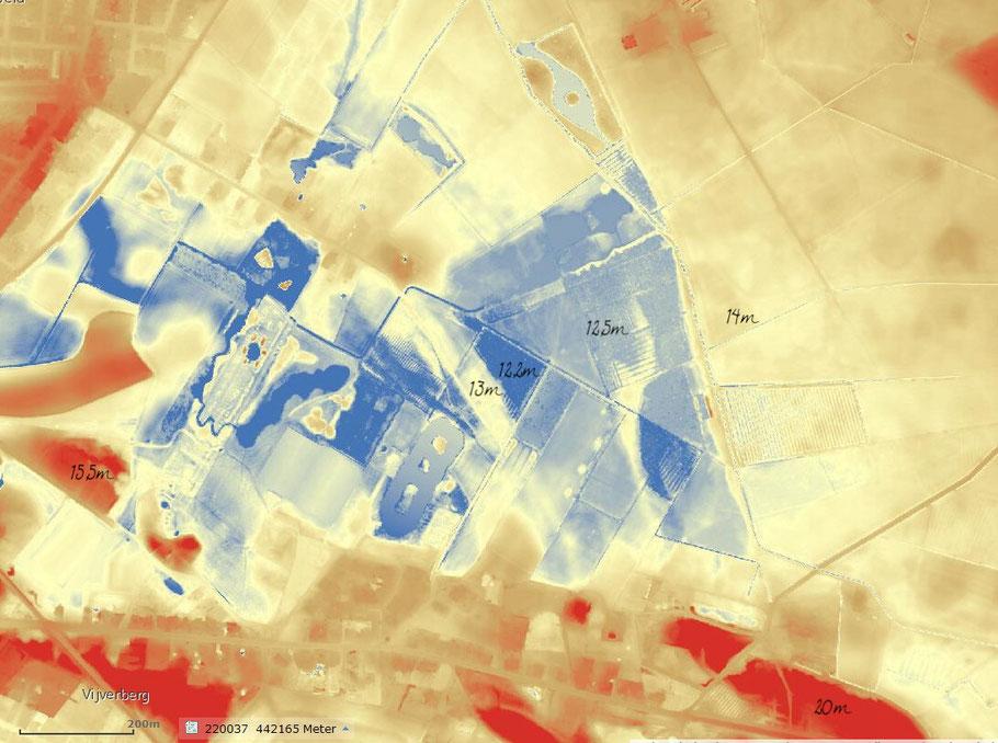 Hoogtekaart van de Zumpe en omgeving met enkele hoogten. De hoogte verloopt van rood (hoog) via geel naar blauw (laag). Hoe donkerder een kleur, hoe hoger of lager het terrein ligt. De Zumpe ligt dus in een kom.