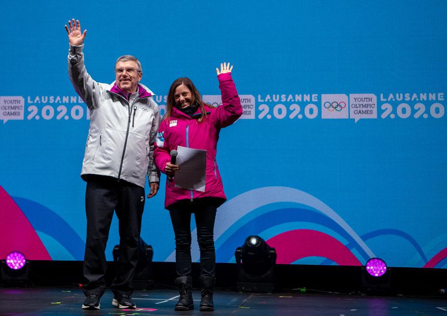 Thomas Bach président du CIO et Virginie Faivre, présidente du comité d'organisation Lausanne 2020 © OIS/Joel Marklund