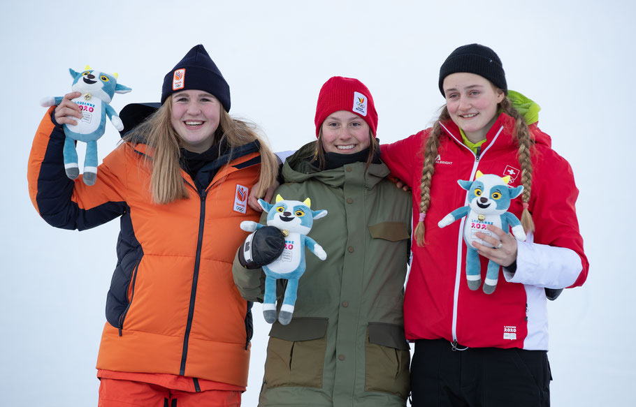 Les snowboadeuses olympiques à Leysin / Copyright : Ben Queenborough /OIS
