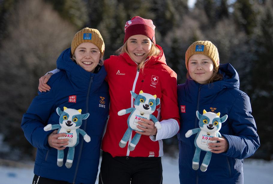 Les fondeuses olympiques à la Vallée de Joux / Copyright : Joel Marklund /OIS