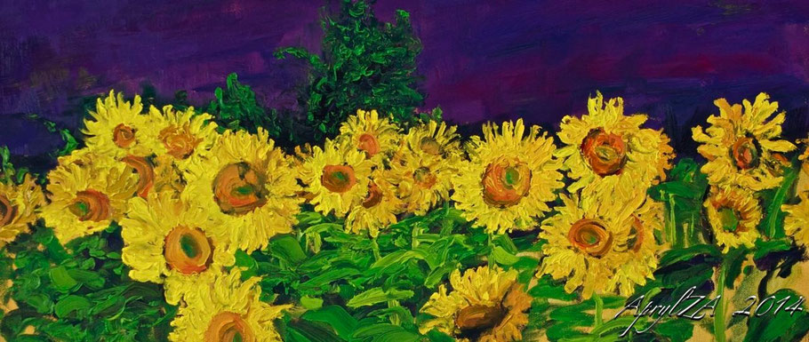 Sunflowers before Lavender impressionist painting