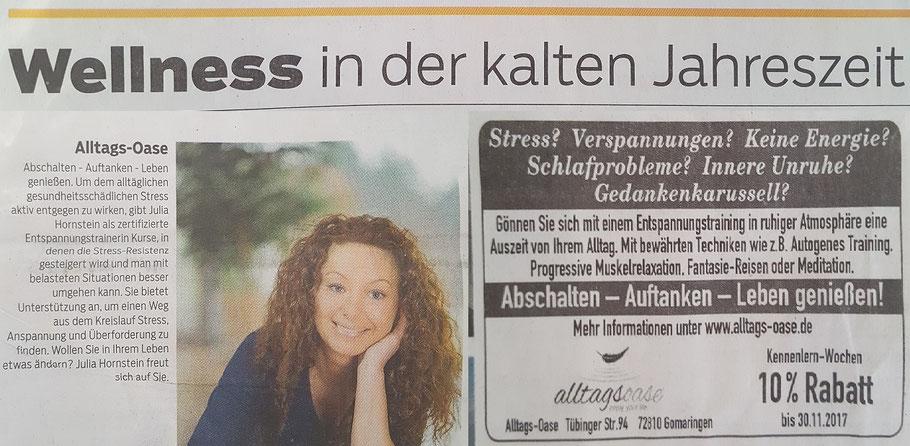 Alltags-Oase Entspannungstraining Schwäbisches Tagblatt