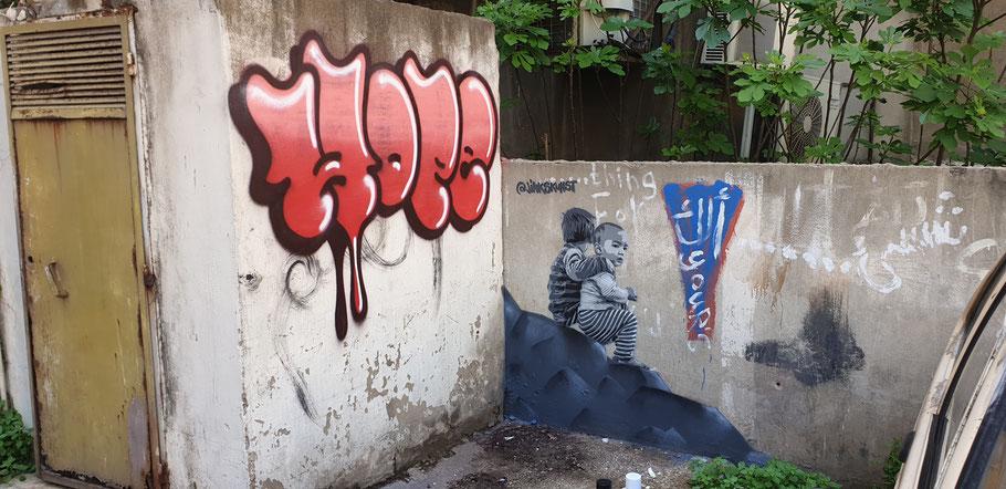 à Beyrouth Hamra avec Meuh (Hope) et l'ONG Ahla Fawda