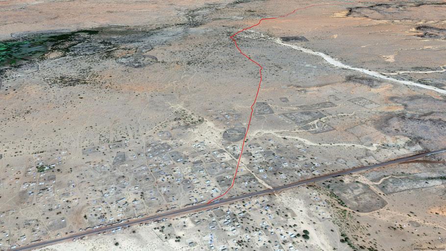 Hier sieht man schön den Einstieg und die Route zum Guelta Matraucha