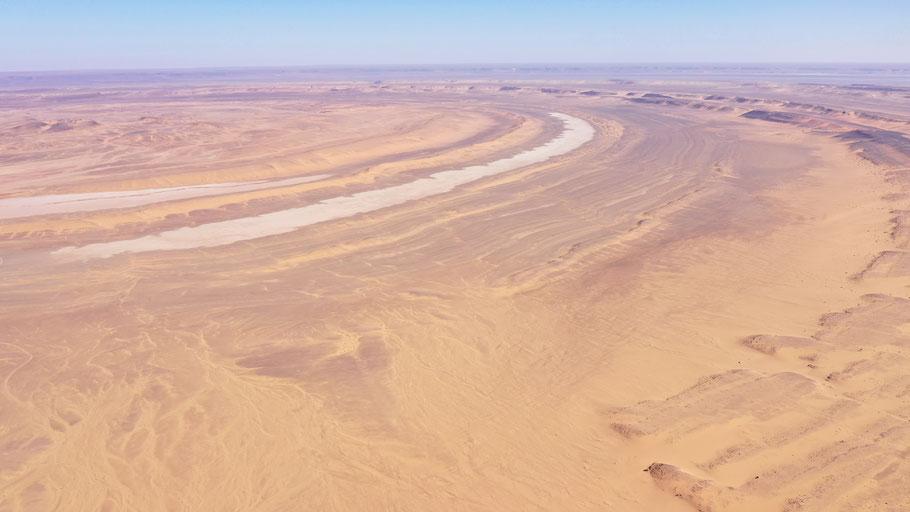 Die Richat Struktur aus 500m Höhe. Das Bild wurde mit einer Mavic2 Pro aufgenommen.