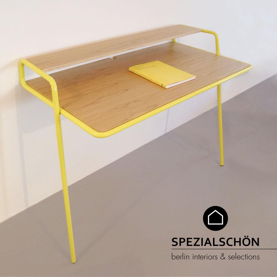 Lehnschreibtisch, Design Schreibtisch, Stahlrohr Tisch, Bauhaus, Gelber Tisch, Leaning Table, Eichentisch, Industrial Design
