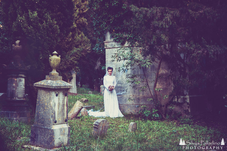 Bride Wedding Gothic Goth art photography greyard