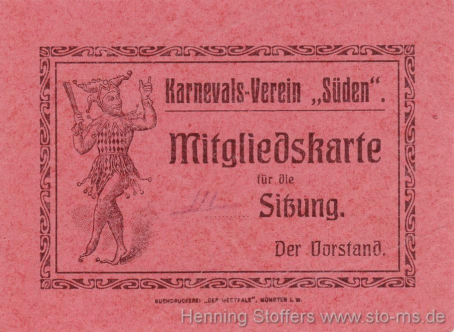 Mitglieds- und Eintrittskarte 1913 zu einer der vielen Veranstaltungen