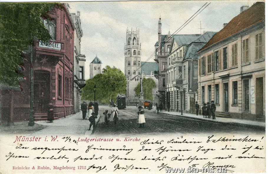 Blick vom Ludgeriplatz in die Ludgeristraße mit Ludgerikirche - um 1905