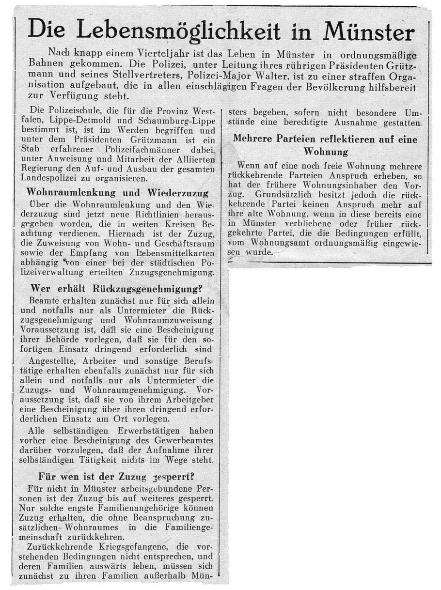 Neue Westfälische Zeitung 6.6.1945