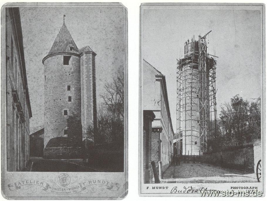 Der Buddenturm im ursprünglichen Zustand und während des Einbaus des Wasserbehälters